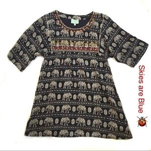 Skies are Blue Dress Stitch Fit Size 6 Elephants